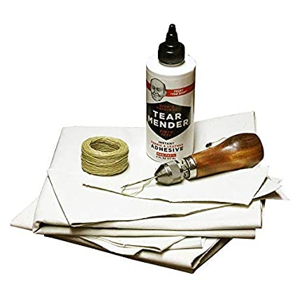 Complete Repair Kit for Canvas Tents, Pop-Up Campers, Tarps, Marine and  Boat Covers | with 6oz Tear Mender Glue, Speedy Stitcher Sewing  Awl/Needles,