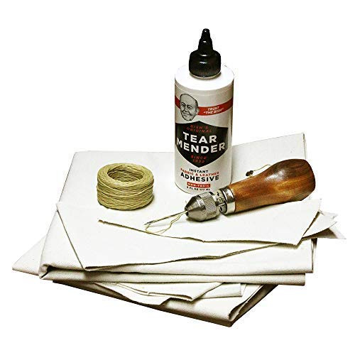 (Outfitters Supply Complete Repair Kit for Canvas Tents, Tarps, Marine and Boat Covers | with 6oz Tear Mender Glue, Speedy Stitcher, Over 6 Sq Ft of Canvas and 30 Yards of Thread)