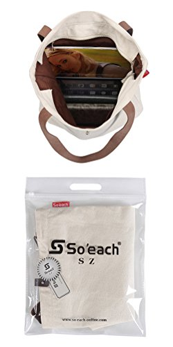 So'each Bolsa de tela y de playa, color natural (beige) - HBUK-ODC-6-BG color natural