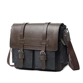 Mens Bag Zipper Canvas Crossbody Bag Shoulder Bag Men's Briefcase Computer Bag High capacity (Color : Black)