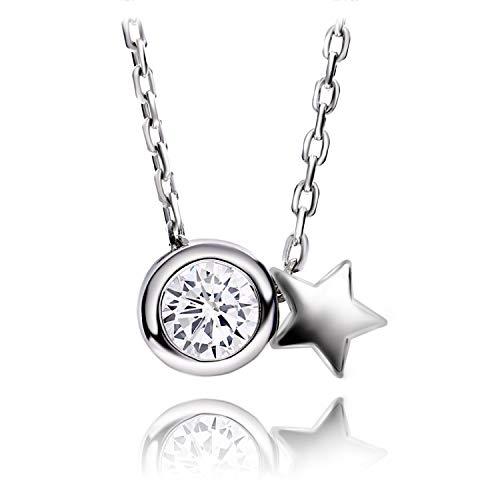 SORASIER 스포츠 건강 목걸이 레이디 여성 밤하늘 모티브 최고급 5A CZ다이아몬드 순은925 금속 알레르기 대응 (A-1.star light 플래티넘(platina))