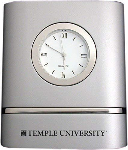 LXG, Inc. Temple University- Two-Toned Desk Clock -Silver