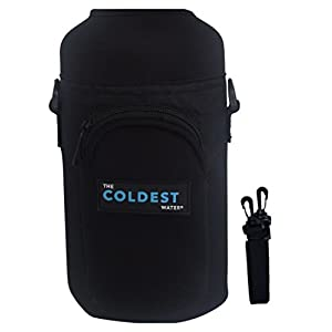 The Coldest Water Bottle Gym Travel Carrier Protector Sleeve with Pouch Handsfree - Prevent dents, scratches - Multi-Compatible with other Stainless Steel and Plastic Water Bottles (64 oz)