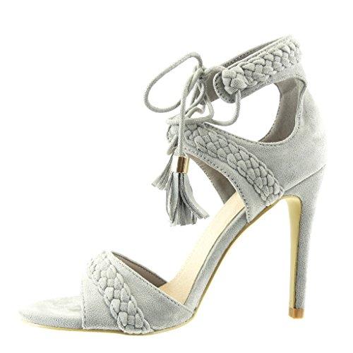 Angkorly - damen Schuhe Sandalen Pumpe - Stiletto - Offen - Geflochten - Bommel - Franse Stiletto high heel 11 CM - Grau