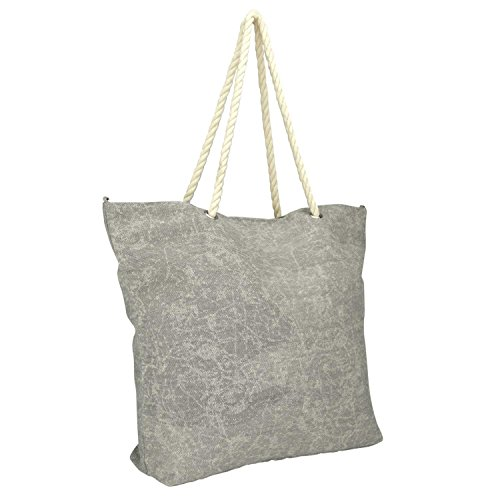 Price comparison product image DALIX Washed Pigment Dyed Canvas Tote Bag w/ Snap Button + Cotton Handle in Grey