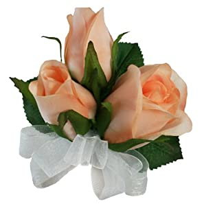 Peach Silk Rose Corsage - Wedding Corsage Prom 55