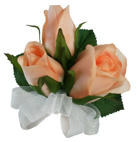 - Peach Silk Rose Corsage - Wedding Corsage Prom