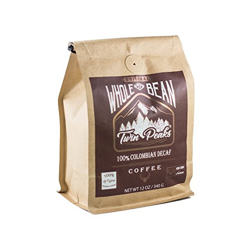 Twin Peaks Premium 100% All Natural Whole Bean Colombian Decaf Arabica Coffee, Non GMO, 12 ounce bag (Coffee Peaks Twin)