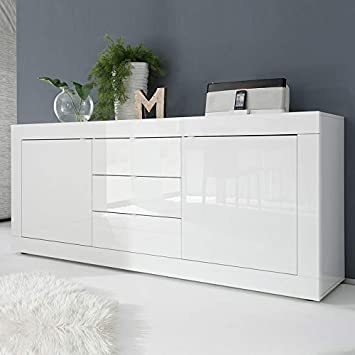 NOUVOMEUBLE Buffet Design Blanc laqué 2 Portes 3 tiroirs focia 2 ... 66186b395c5c