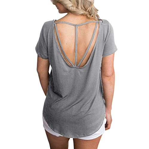 (T Shirts for Women Summer Loose Casual Short Sleeve Tops Round Neck Solid Tunic Backless T-Shirt Blouse Gray)