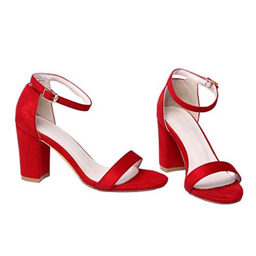 sans Bride UH Suede Femmes Sandales Cheville Ouverts Rouge Plateforme Bout Elegantes Talons Bloc Haut à rqrw7ECx