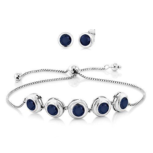 Gem Stone King 7.00 Ct Round 6mm Blue Sapphire 925 Sterling Silver Bracelet Earrings Set