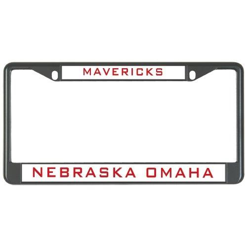Nebraska Omaha Metal License Plate Frame in Black 'Mavericks'