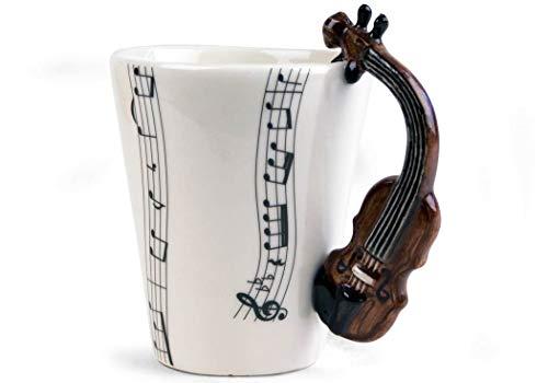 Violin 8oz Brown Handmade Ceramic Coffee Mug (10cm x ()