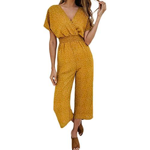 Women's Print Pocket Jumpsuit Sexy V-Neck Summer Short Sleeve High Waist Jumpsuit Loose Fashion Casual Jumpsuit MEEYA - Suit Wool Elvis