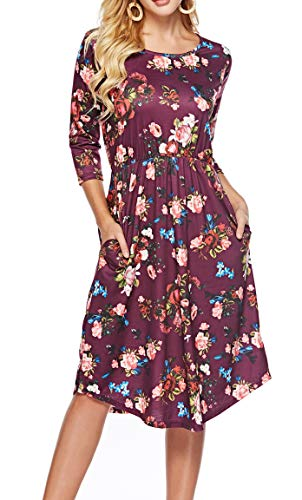 ZJCT Womens Dresses 3/4 Sleeve Round Neck Floral Casual Swing Midi Dress with Pockets Rose Red S