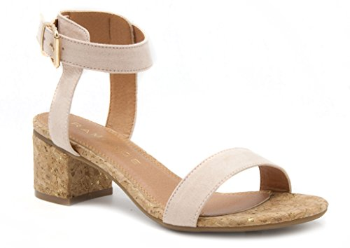 Rampage Hydee Cork Heel Dress Sandal with Buckle 8 Blush ()