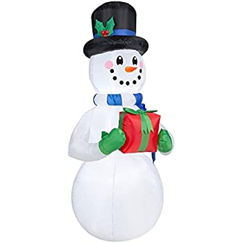8 Lights Lighted Decor7 GiftYard Wonder Holding Feet Art Winter Led Lane Inflatable Snowman Tall xQtCshrd