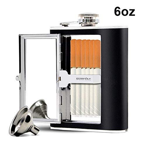 Flask Cigarette Holder - Sunnyac Stainless Steel Hip Flask, Leak-proof Hidden Flask with Cigarette Case and Leather Wrapped Cover, Including a Funnel and White Box, Black (6 Ounce)