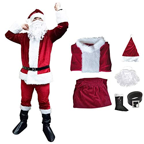 Christmas Santa Claus Suit, Adult Men's Santa Costume with Beard, Winter Holiday Classic Flannel Cosplay Clothes Sets (Dark red)