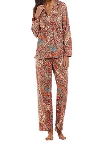 Lauren Ralph Lauren Printed Cotton Sateen Pajama Set (Robe Cotton Pink Sateen)
