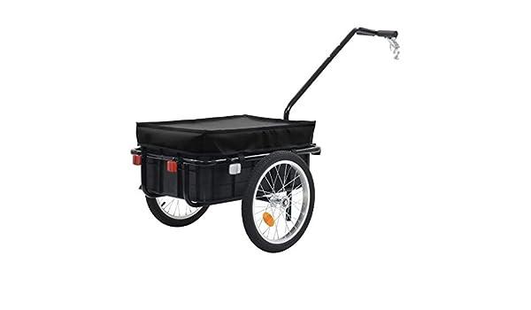Nishore – Remolque para Bicicleta, Carro de Mano, Remolque de Carga, Remolque de Transporte, Caja de Transporte de plástico con Marco de Acero, Carro de Transporte, 155 x 61 x 83 cm,
