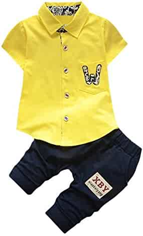 8fe04887a Kehen Toddler Baby Boys 2pcs Summer Outfit Candy Color Beard Print T-Shirt  Tops+ Shorts