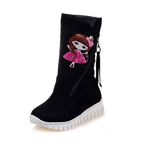 Allhqfashion Women's Low-Top Cartoon Pattern Zipper Round Closed Toe Low-Heels Boots Black 5oCX3VuLa