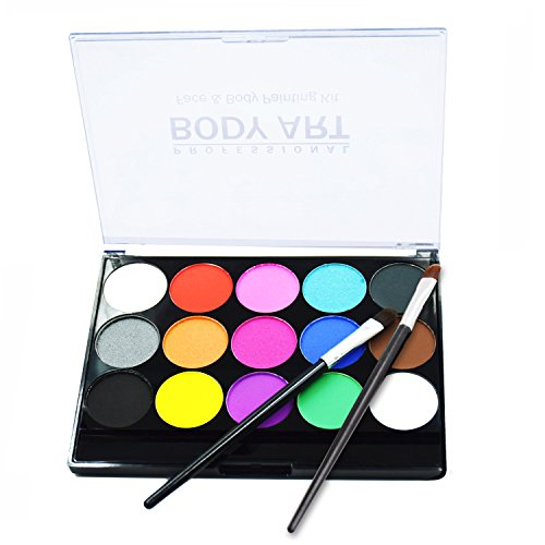 Face Body Paints Kits Kids Hypoallergenic Make Up Palette-Safe & Non-Toxic, Ideal for Halloween Party Face Painting - Easy to Wear and Remove-15 Colors with Two Fine Brush -
