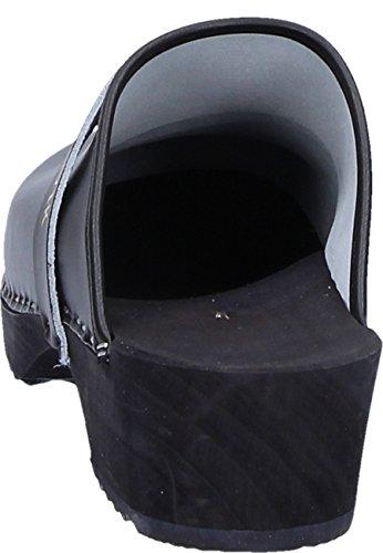 bois et clog unisexe Clog en avec dessus le Noir tige cuir sur bandoulière classique 6dqdX