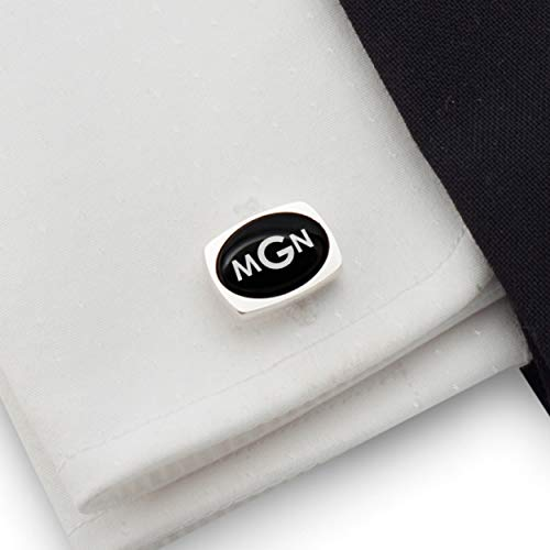 Cufflinks Onyx Handmade - Three Letter Monogram, Engraved Cufflinks, Custom Cufflinks, Mens cufflinks, Black Onyx stone 925 Silver   FREE Gift Messaged, Box   Handmade