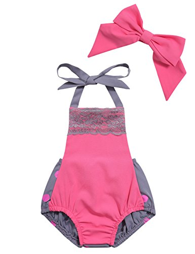 Bubble Wrap Jumpsuit Costume (Baby Girls Sleeveless Lace Halter Romper and Bowknot Headband 2PCS Outfits Set)