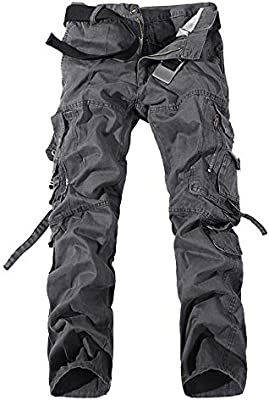 Mens Outdoor Cotton Casual Military Army Camo Combat Work Pants Tactical Cargo Trousers