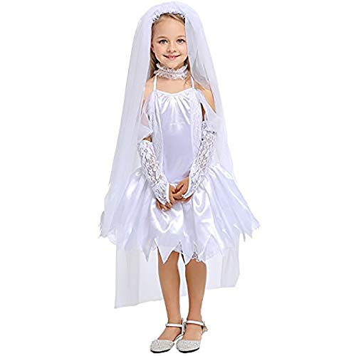 Halloween Party Girl Costume Gothic Vampire Ghost Bride Costumes for Kid White Zombie Dress Cosplay Kid Funny -