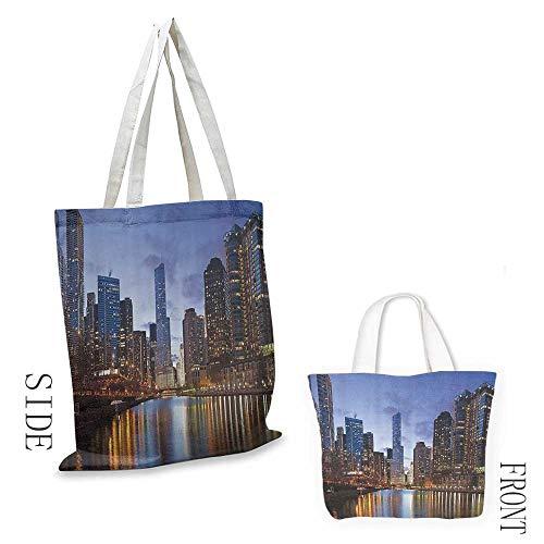 Multipurpose canvas bag Contemporary Urban Cityscapes Americana Decor Collection Chicago Riverside Bridge Scene Modern USA Boho City Prints Washable tote 16.5