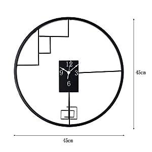 Wall clock Reloj de Pared de Hierro Forjado de Estilo Chino Reloj de Pared de 18 Pulgadas (45 * 45 cm) Dormitorio Reloj de Pared Movimiento metálico Movimiento de Barrido 1 batería AA (sin impuestos) 2