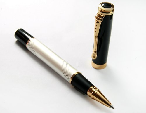 1 X Classic Mother of Pearl Golden Ring Pen, Pen Barrel Is Finished Pearl White with Push in Style Ink Converter by JINHAO (Golden Garden Pearls)