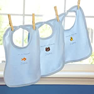 """""""It's a Boy"""" Personalized Baby Bibs (Set of 3) Customize: Yes, Personalization Color: Blue"""