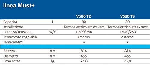 Calentador eléctrico Baxi Must + V580 TD 80 L, Casquillo DX.: Amazon.es: Hogar