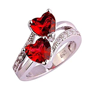 Nikgic. Valentines Rings Double Love Heart Rings Red Zircon Rings Sterling Silver Plated Fashion Copper Rings Elegant Gift Rings for Women Lady Girl Birthday Anniversary Engagement Party Size 9