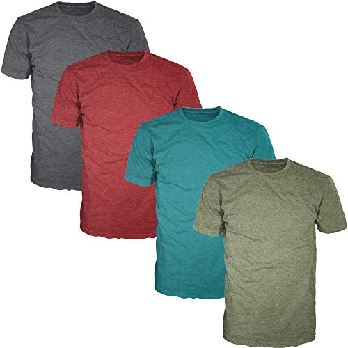 Basic Plain Crewneck Heather T-Shirts for Men (Value Pack of 4) Heather Multicolor (A) Pack, Small