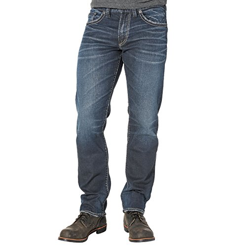 Silver Jeans Men's Eddie Relaxed Fit Tapered Leg Jeans, Rinse Wash, (Rinse Wash Jeans)