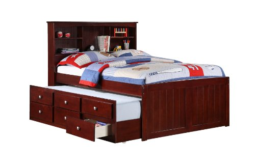 DONCO Full Mission Captains Cappucino Bookcase Trundle Bed