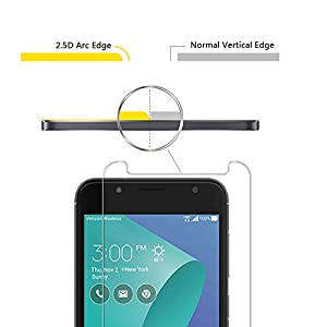 [2 Pack] Orzero For Asus ZenFone V Live (Verizon) / V500KL 5 Inch Tempered Glass Screen Protector, 2.5D Arc Edges 9 Hardness HD Anti-Scratch [Lifetime Replacement Warranty]