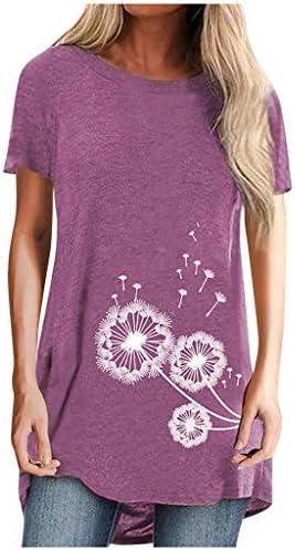 Memela Women`s Short Sleeve O-Neck Tunic Tops T Shirts Fashion Dandelion Print Blouses Loose Fit Casual Long Tshirts S-XXL