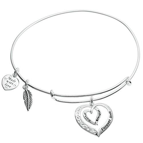 Qina-C-Sterling-Silver-Mother-Daughter-Forever-Love-Heart-Leaf-Dangle-Charm-Adjustable-Wire-Bangle-Bracelet