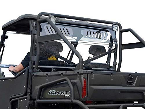 SuperATV Heavy Duty Clear Vented Rear Windshield for Polaris Ranger Full Size 570 / Crew - (2016+) - Protection From Flying Debris ()
