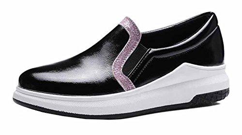 Showhow Dames Casual Effen Ronde Neus Elastische Lage Top Slippen Midlange Hak Wandelende Mode Sneakers Zwart