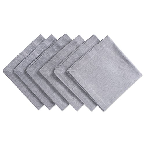 Look Napkins - DII Chambray Pastel Basic Cloth Napkins for Everyday Place Settings with Woven Denum Look, Perfect for Weddings, Buffets, Parties, Formal Meals (20x20 Large, Set of 6) Gray