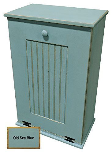 Sawdust City Tilt-Out Wooden Trash Bin Holder (Old Sea Blue)